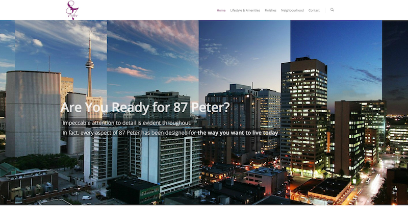 多伦多公寓开发87Peter 多伦多网站制作 北美网站设计 Hilborn Digital 网站开发