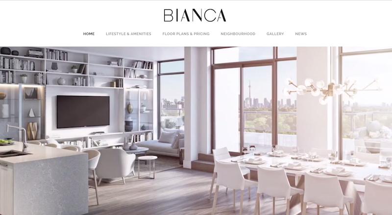 多伦多公寓开发Bianca Condos Toronto 多伦多网站制作 北美网站设计 Hilborn Digital 网站开发